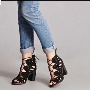 NIB Anthropologie black leather bootie sandals